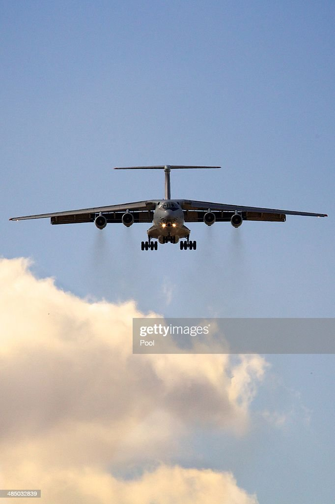 A People's Liberation Army Air Force Illyushin Il-76 on final approach to Perth International airport having just completed a search mission trying to locate missing Malaysia Airways Flight MH370 on April 16, 2014 in Perth, Australia. Twenty-six nations have been involved in the search for Malaysia Airlines Flight MH370 since it disappeared more than a month ago. The Malaysian Airways aircraft went missing on 8th March 2014 whilst on a flight between Kuala Lumpur and Beijing.