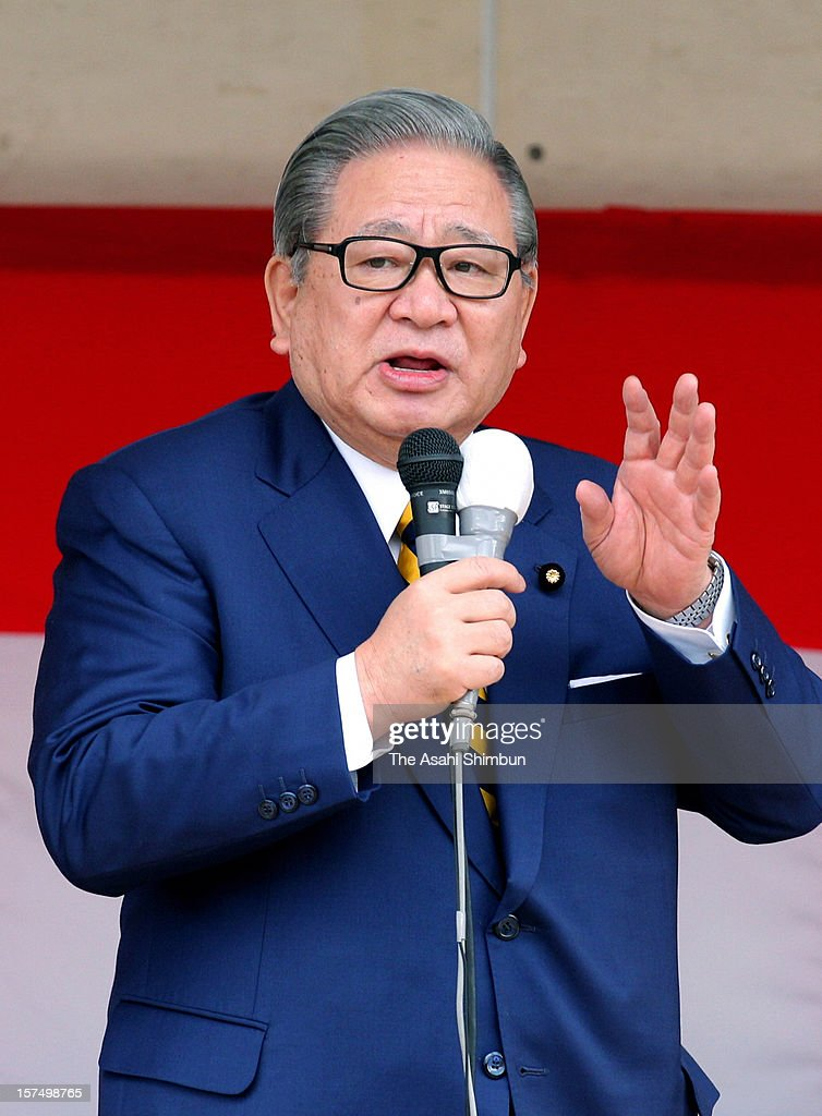 People's New Party leader Shozaburo Jimi makes a street speech on December 4, 2012 in Satsumasendai, Kagoshima, Japan. The general election capmaign officially began for December 16, with the election issues such as nuclear power energy, economy growth and Trans Pacific Partnership negotiations.