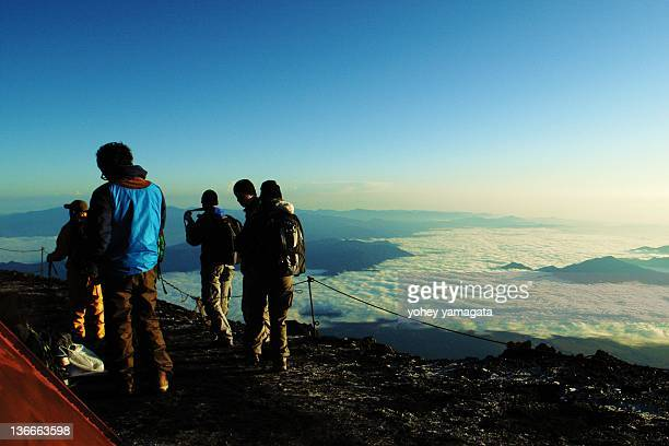 Peoples on top of Mt.Fuji