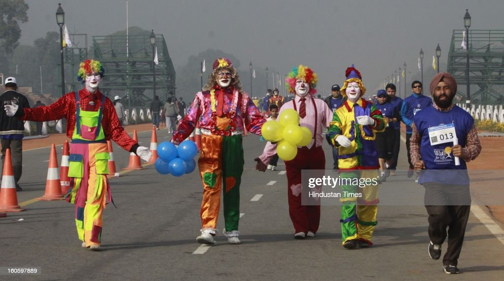 "Peoples participating ""walk for life"" for different style for support of world Cancer day at Rajpath on February 3, 2013 in New Delhi, India. A Colorful event that saw school children prominent citizens and peoples from all Sections of Society gather to express their solidarity with hose living with cancer and to mark world cancer day."