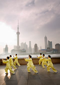 People's Republic of China, Shanghai, Bund, people practicing tai chi