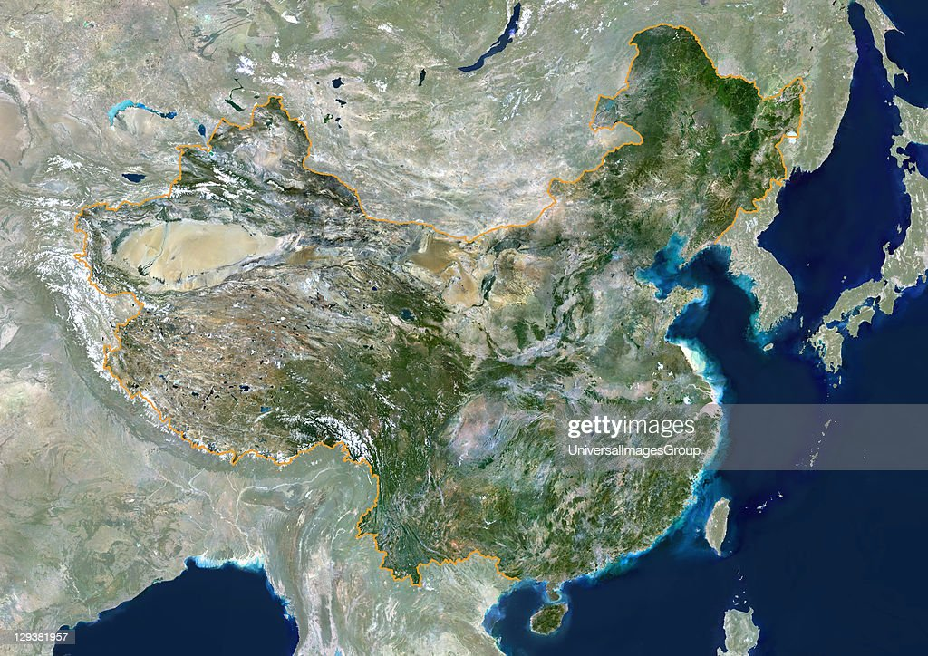People's Republic of China true colour satellite image with mask and border This image was compiled from data acquired by LANDSAT 5 7 satellites...
