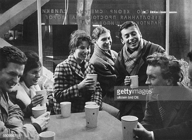 People's Republic of Poland young people drinking milk in a milk bar