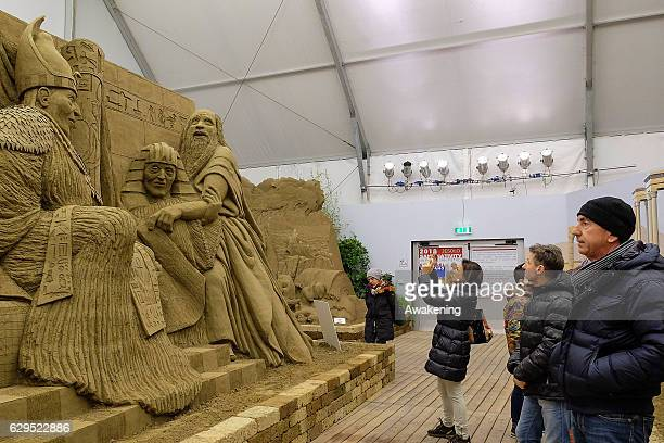 A peoples view one of the sculptures at the Jesolo Sand Nativity 2016 on December 13 2016 in Jesolo Italy
