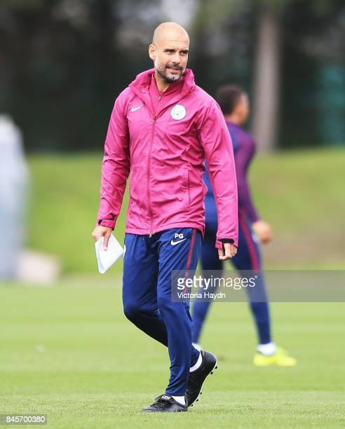 Pep Guardiola during training at Manchester City Football Academy on September 11 2017 in Manchester England