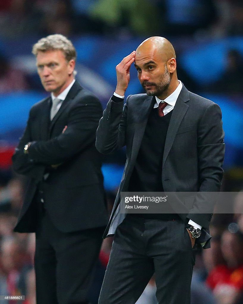 Pep Guardiola head coach of Bayern Muenchen scratches his head during the UEFA Champions League Quarter Final first leg match between Manchester United and FC Bayern Muenchen at Old Trafford on April 1, 2014 in Manchester, England.