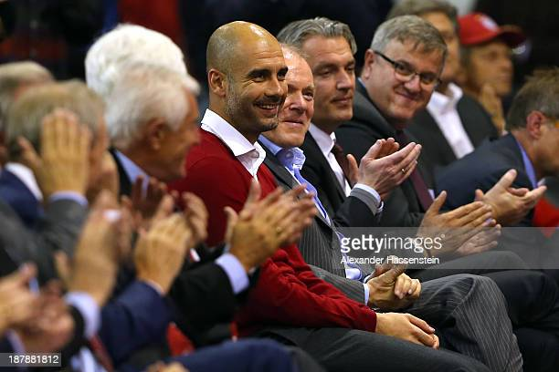 Pep Guardiola head coach of FC Bayern Muenchen smiles during the FC Bayern Muenchen annual general meeting at Audi Dome on November 13 2013 in Munich...