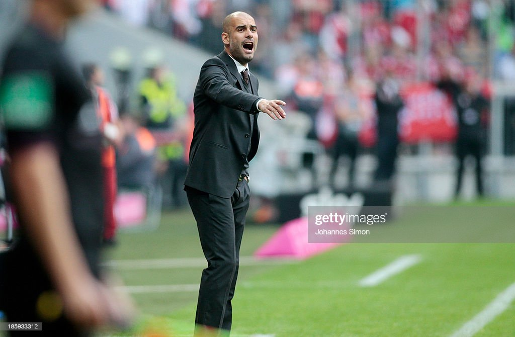 Pep Guardiola, head coach of Muenchen gestures during the Bundesliga match between FC Bayern Muenchen and Hertha BSC Berlin at Allianz Arena at Allianz Arena on October 26, 2013 in Munich, Germany.