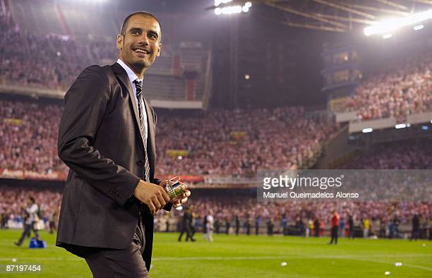 Pep Guardiola of Barcelona smiles after the Copa del Rey final match between Barcelona and Athletic Bilbao at the Mestalla stadium on May 13 2009 in...