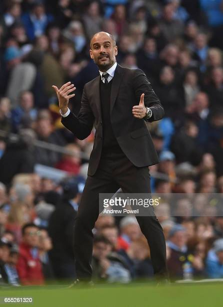 Pep Guardiola of Man City during the Premier League match between Manchester City and Liverpool at Etihad Stadium on March 19 2017 in Manchester...