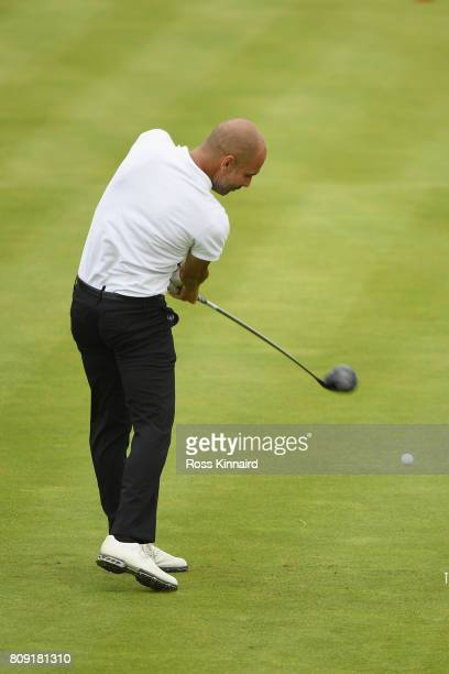 Pep Guardiola tees off during the ProAm of the Dubai Duty Free Irish Open at Portstewart Golf Club on July 5 2017 in Londonderry Northern Ireland