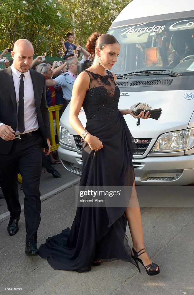 Pep Reina and Yolanda Ruiz arrive to the wedding of Xavi Hernandez and Nuria Cunillera at the Marimurtra Botanical Gardens on July 13, 2013 in Barcelona, Spain.