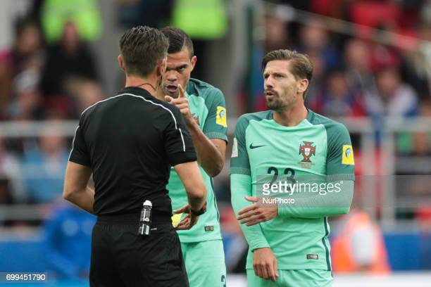 Pepe and Adrien Silva of the Portugal national football team reacts during the 2017 FIFA Confederations Cup match first stage Group A between Russia...