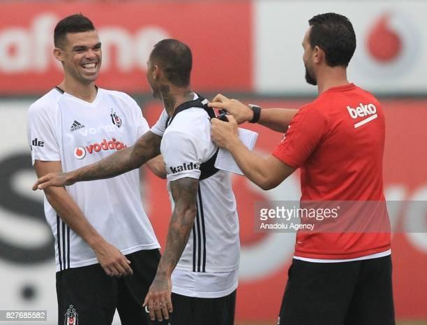 Pepe and Ricardo Quaresma of Besiktas attend a training session ahead of the Turkish Spor Toto Super Lig new season match between Besiktas and...