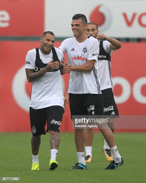 Pepe and Ricardo Quaresma of Besiktas attend a training session ahead of the Turkish Spor Toto Super Lig new season match between Besiktas and...