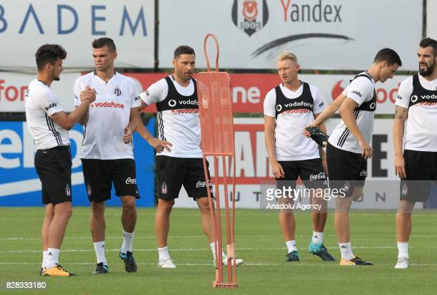 Pepe Andreas Beck Alvaro Negredo Dusko Tosic of Besiktas attend a training session ahead of the Turkish Spor Toto Super Lig new season match between...