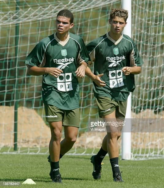 Pepe Cristiano Ronaldo of Sporting Lisbon during a training on July 17 2002 in Lisbon Portugal