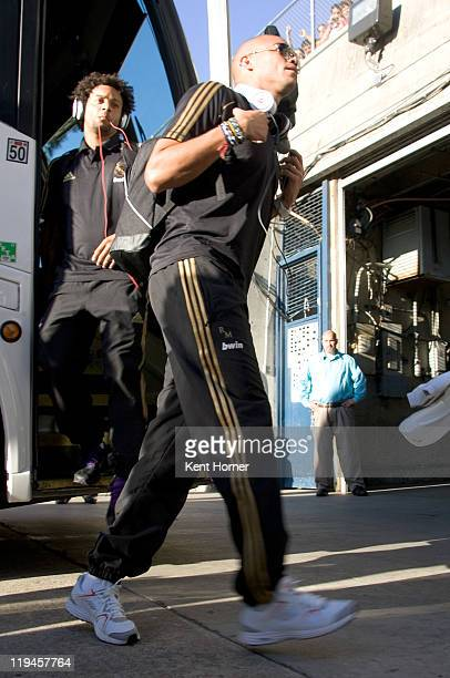 Pepe front and Marcelo back of Real Madrid step off the bus prior to the game against CD Guadalajara during the first half of their game at Qualcomm...