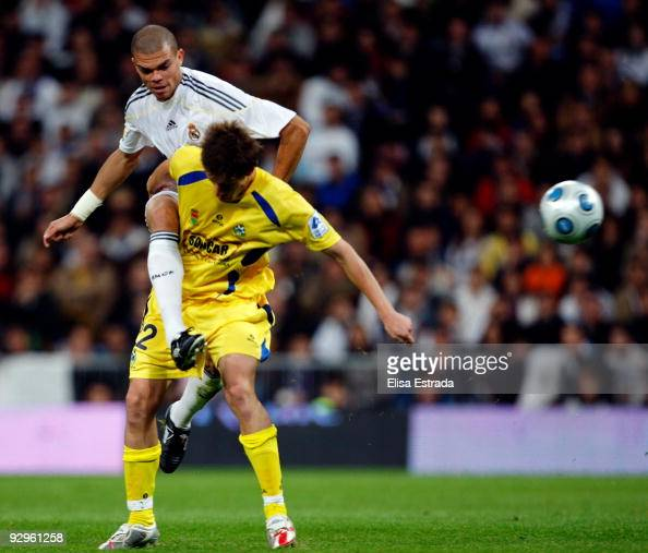 Pepe in action during the Copa del Rey match between Real Madrid and AD Alcorcon at Estadio Santiago Bernabeu on November 10 2009 in Madrid Spain