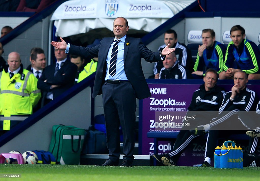 <a gi-track='captionPersonalityLinkClicked' href=/galleries/search?phrase=Pepe+Mel&family=editorial&specificpeople=3667674 ng-click='$event.stopPropagation()'>Pepe Mel</a> manager of West Bromwich Albion reacts during the Barclays Premier League match between West Bromwich Albion and Manchester United at The Hawthorns on March 8, 2014 in West Bromwich, England.