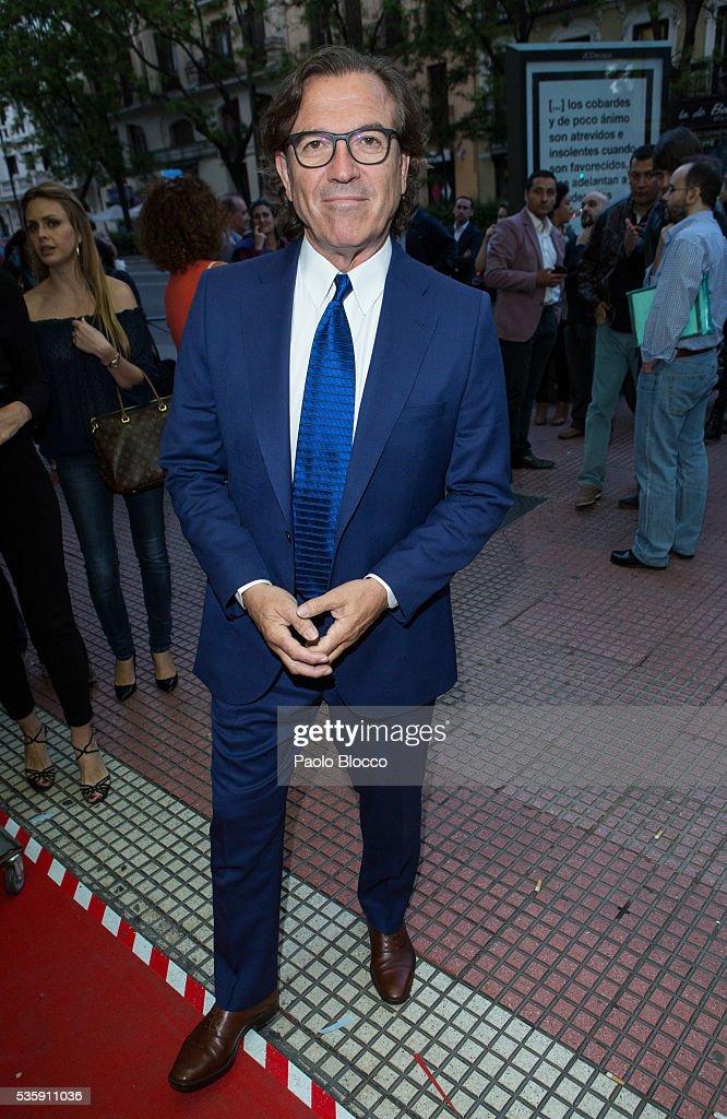 Pepe Navarro is seen arriving to 'Nuestros Amantes' premiere at Palafox Cinema on May 30, 2016 in Madrid, Spain.