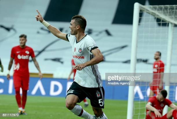 Pepe of Besiktas celebrates after scoring a goal during a Turkish Spor Toto Super Lig soccer match between Besiktas JK and Antalyaspor at Vodafone...