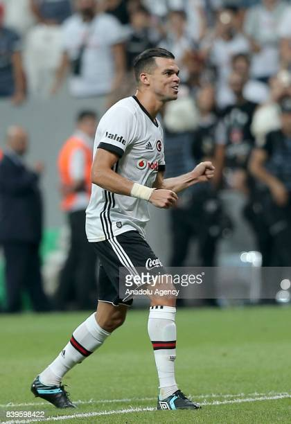 Pepe of Besiktas celebrates at the end of the Turkish Super Lig soccer match between Besiktas JK and Bursaspor at Vodafone Park in Istanbul Turkey on...