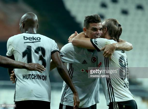 Pepe of Besiktas celebrates their score with his teammates during a Turkish Spor Toto Super Lig soccer match between Besiktas JK and Antalyaspor at...