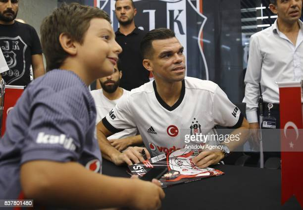 Pepe of Besiktas gathers with fans as he participates in an autograph session at 'Kartal Yuvasi' Store at Vodafone Arena in Istanbul Turkey on August...