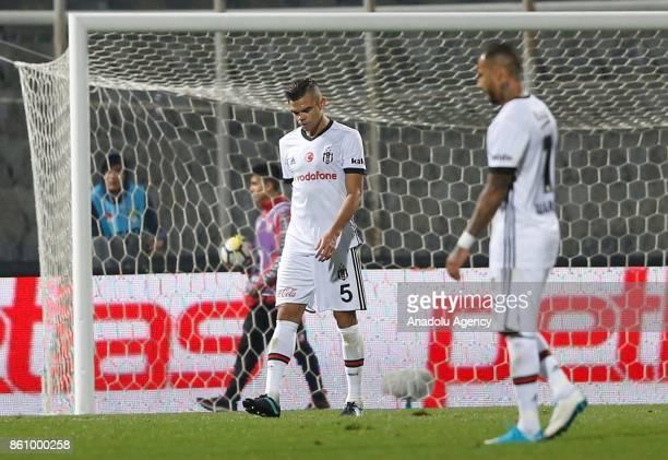 Pepe of Besiktas gestures after the Turkish Super Lig soccer match between Genclerbirligi and Besiktas at 19 Mays Stadium in Ankara Turkey on October...