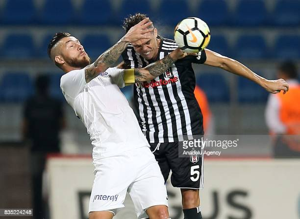 Pepe of Besiktas in action against Adem Buyuk of Kasimpasa during a Turkish Spor Toto Super Lig soccer match between Kasimpasa and Besiktas at the...