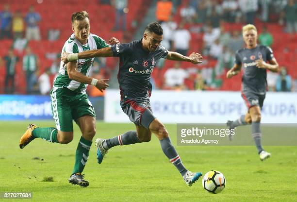 Pepe of Besiktas in action against Deni Milosevic of Atiker Konyaspor during the Turkcell Super Cup match between Besiktas and Atiker Konyaspor at...