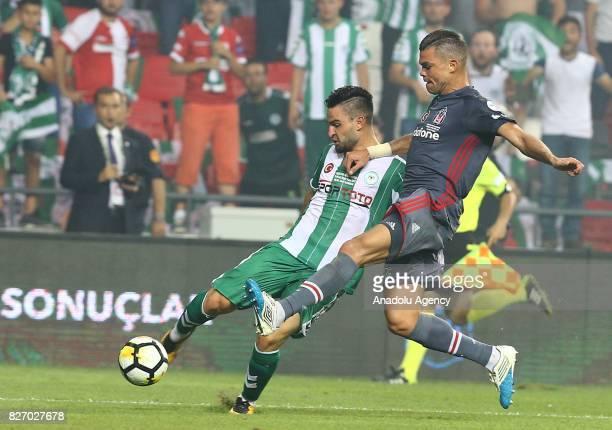 Pepe of Besiktas in action against Omer Ali Sainer of Atiker Konyaspor during the Turkcell Super Cup match between Besiktas and Atiker Konyaspor at...