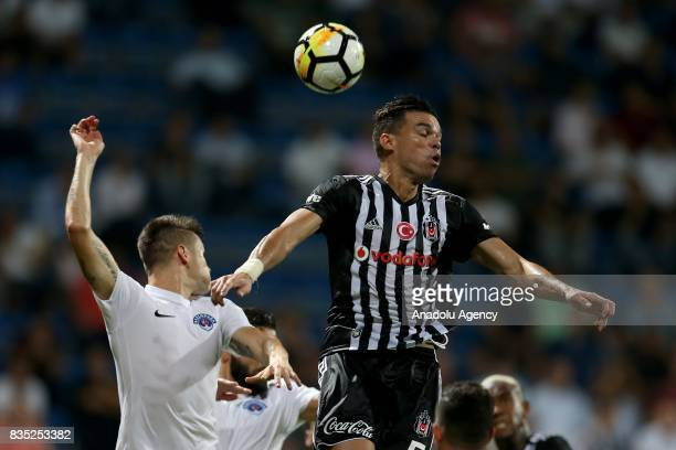 Pepe of Besiktas in action against Popov of Kasimpasa during Turkish Spor Toto Super Lig soccer match between Kasimpasa and Besiktas at the Recep...
