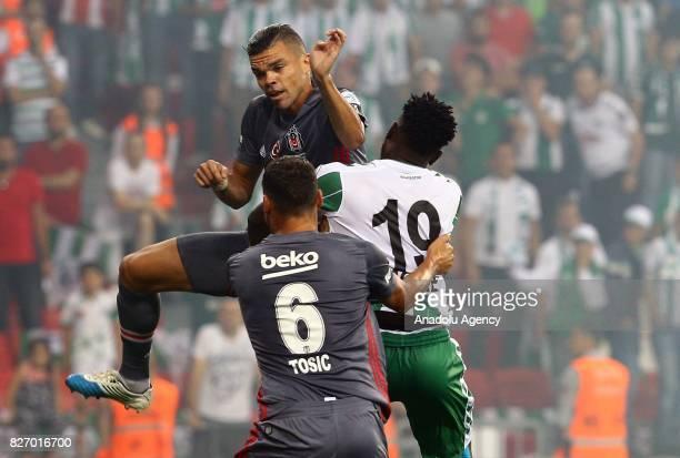 Pepe of Besiktas in action during the Turkcell Super Cup match between Besiktas and Atiker Konyaspor at Samsun New 19 Mays Stadium in Samsun Turkey...