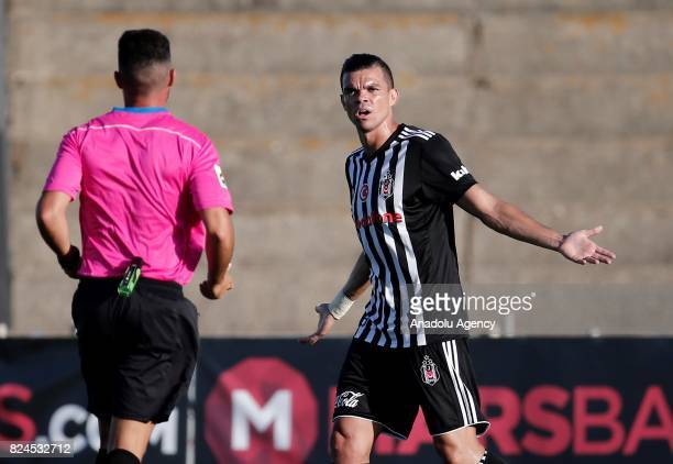 Pepe of Besiktas objects to the referee during a friendly match between Besiktas and Real Betis as part of the new season preparations in Cadiz Spain...