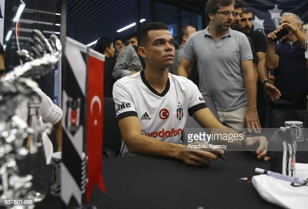 Pepe of Besiktas participates in an autograph session at 'Kartal Yuvasi' Store at Vodafone Arena in Istanbul Turkey on August 23 2017