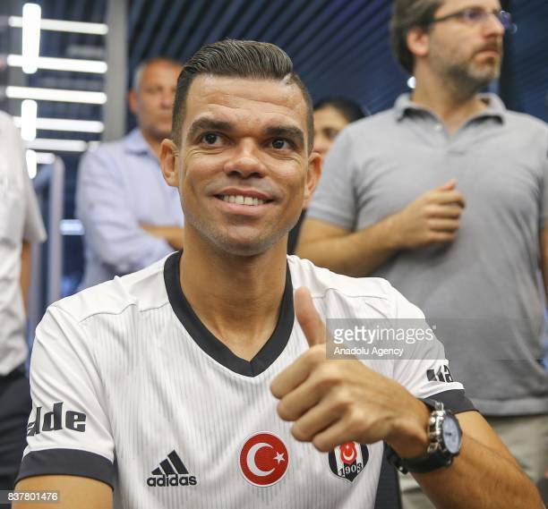 Pepe of Besiktas poses for a photo as he participates in an autograph session at 'Kartal Yuvasi' Store at Vodafone Arena in Istanbul Turkey on August...