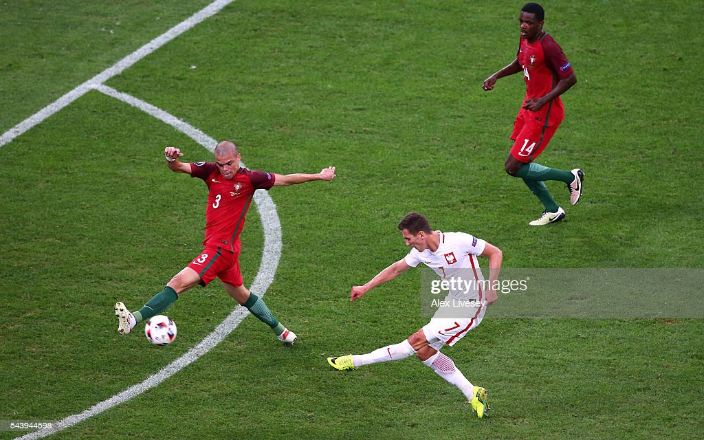 <a gi-track='captionPersonalityLinkClicked' href=/galleries/search?phrase=Pepe+-+Portuguese+Soccer+Player&family=editorial&specificpeople=4401229 ng-click='$event.stopPropagation()'>Pepe</a> of Portugal blocks the shot by Artur Jedrzejczyk of Poland during the UEFA EURO 2016 quarter final match between Poland and Portugal at Stade Velodrome on June 30, 2016 in Marseille, France.