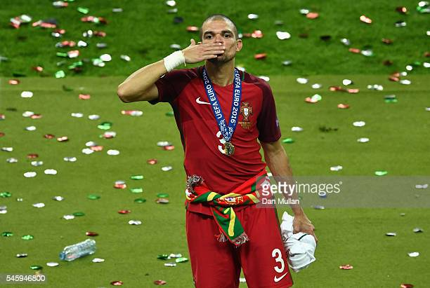 Pepe of Portugal celebrates after his team's 10 win against France in the UEFA EURO 2016 Final match between Portugal and France at Stade de France...