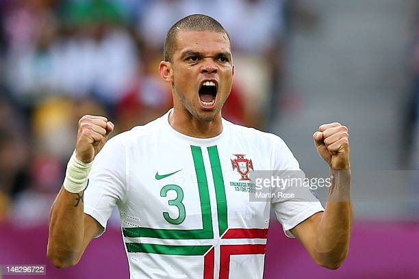 L'VIV UKRAINE JUNE 13 Pepe of Portugal celebrates scoring their first goal during the UEFA EURO 2012 group B match between Denmark and Portugal at...