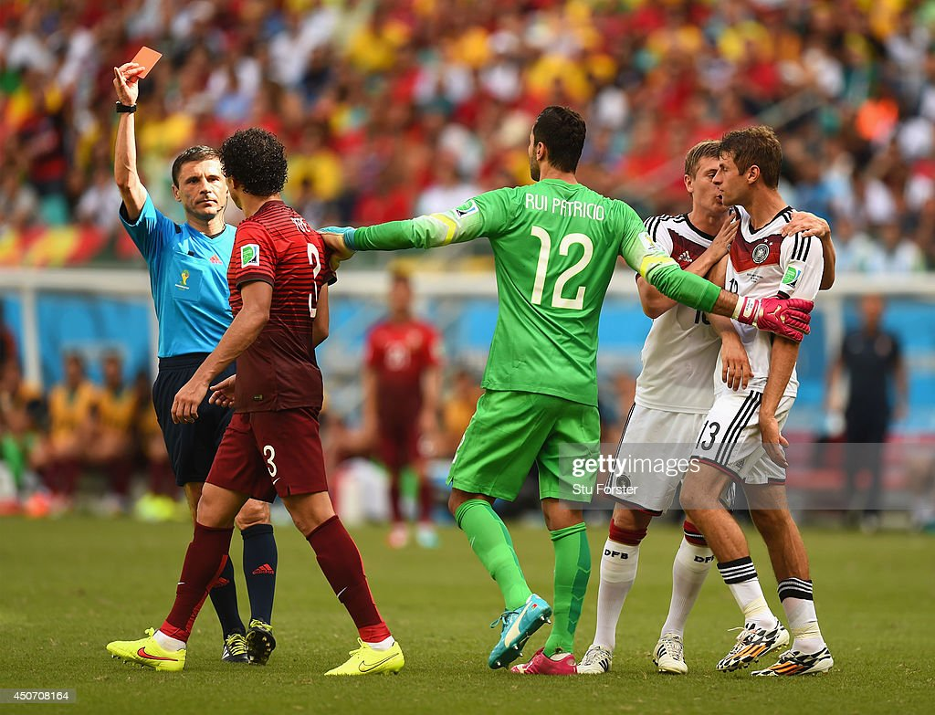 Pepe of Portugal is shown a red card and sent off by referee Milorad Mazic during the 2014 FIFA World Cup Brazil Group G match between Germany and Portugal at Arena Fonte Nova on June 16, 2014 in Salvador, Brazil.