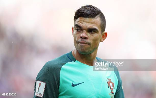 Pepe of Portugal looks on during the FIFA Confederations Cup Russia 2017 Group A match between Russia and Portugal at Spartak Stadium on June 21 2017...