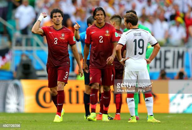 Pepe of Portugal reacts after he was sent off by referee Milorad Mazic during the 2014 FIFA World Cup Brazil Group G match between Germany and...