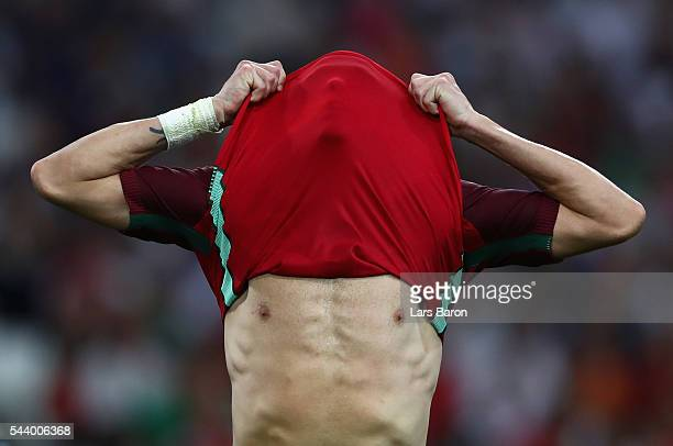 Pepe of Portugal reacts after the extra time during the UEFA EURO 2016 quarter final match between Poland and Portugal at Stade Velodrome on June 30...