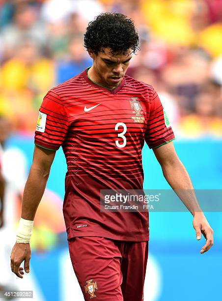 Pepe of Portugal reacts during the 2014 FIFA World Cup Brazil Group G match between Portugal and Ghana at Estadio Nacional on June 26 2014 in...