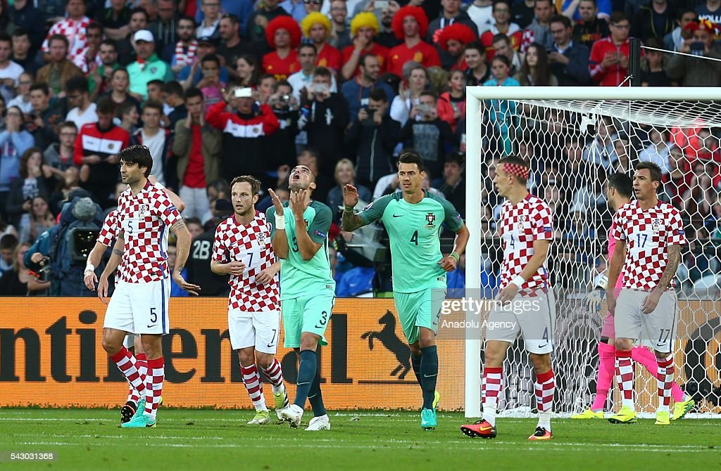 Pepe (3rd L) of Portugal reacts during the Euro 2016 round of 16 football match between Croatia and Portugal at Stade Bollaert-Delelis in Lens, France on June 25, 2016.
