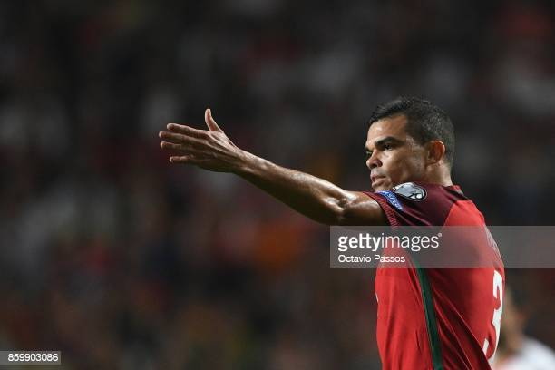 Pepe of Portugal reacts during the FIFA 2018 World Cup Qualifier between Portugal and Switzerland at the Luz Stadium on October 10 2017 in Lisbon...