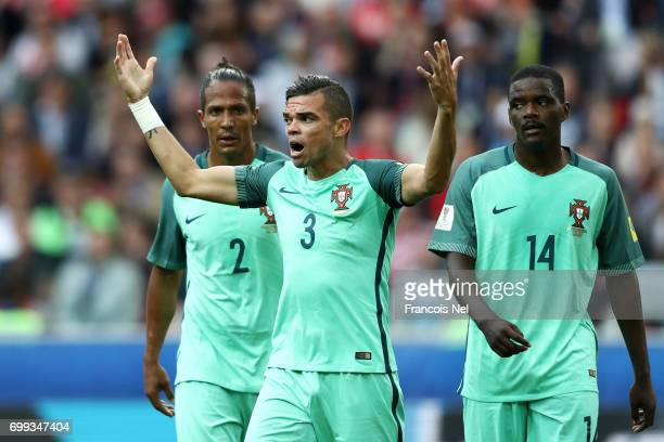 Pepe of Portugal reacts during the FIFA Confederations Cup Russia 2017 Group A match between Russia and Portugal at Spartak Stadium on June 21 2017...