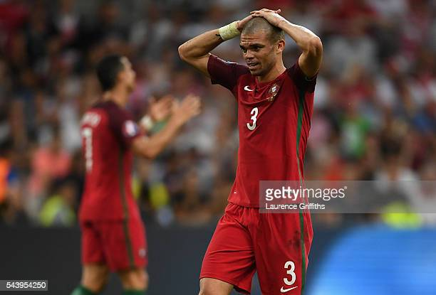 Pepe of Portugal reacts during the UEFA EURO 2016 quarter final match between Poland and Portugal at Stade Velodrome on June 30 2016 in Marseille...